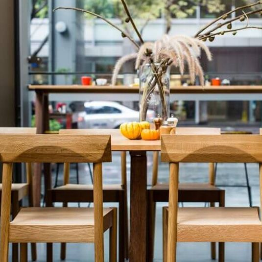 Dove Table & Woodstack Chair at noOk urban fresh bar
